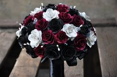 Music Sheet Roses, Red and Black Wooden Flowers Bouquet | AccentsandPetals - Wedding on ArtFire