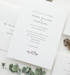 PAPER SAMPLES Aurora Simple Wedding Invitation / Watercolor Save the Date / Watercolor Wedding Invitation / Modern Wedding Invite