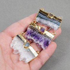 Gold Plated Natural Amethyst Druzy Slice & One Rainbow Druzy Geode Connector Gemstone Quartz Slice Connector Amethyst Jewelry  G0725 by Druzyworld on Etsy