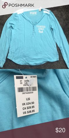 """PINK LONG SLEEVE """"I'd rather cuddle"""" PINK Victoria's Secret Tops Tees - Long Sleeve"""