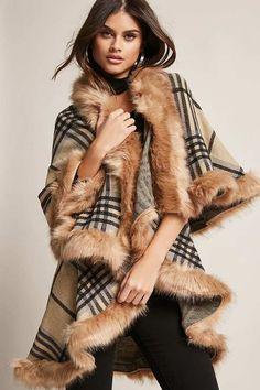FOREVER 21 Plaid Faux Fur Poncho