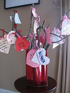 This is a great idea for a child\'s valentine craft. Have them designate hearts with family members names. Then let the family member write a cute or lovely saying on the back. After, decorate!