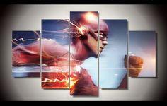 5 Piece multi Panel Modern Home Decor Framed Running Flash DC Comic Super Hero Wall Canvas Art
