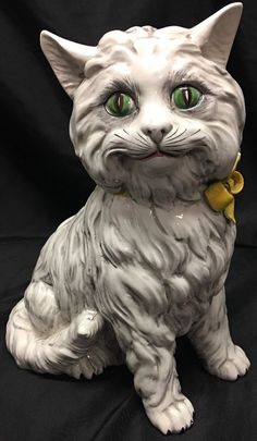 Vintage Large Glazed ITALIAN Ceramic Pottery CAT FIGURINE Statue ~ EXCELLENT!! | eBay