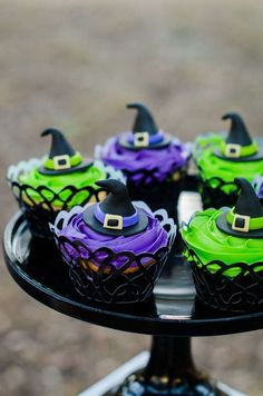You don't want to miss the amazing cupcakes at this Little Witches Soiree! Check out the rest of this fab Halloween party!! See more party ideas and share yours at CatchMyParty.com #halloweenparty #cupcakes