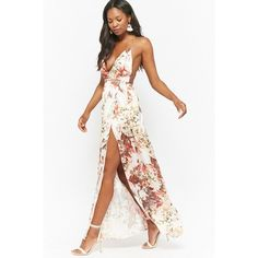 Forever21 Satin Floral Halter Maxi Dress ($58) ❤ liked on Polyvore featuring dresses, gowns, white evening dresses, maxi dresses, open-back maxi dresses, floral maxi dress and slit maxi dresses