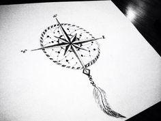 Dream Catcher Compass Tattoo, Compass Dreamcatcher Tattoo, Tattoos Compass…                                                                                                                                                                                 More