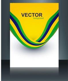 vector brochure brazil flag concept template wave illustration