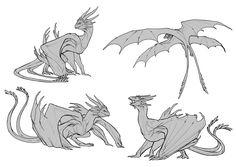 By Javier Franco Santacreu. Animal Sketches, Animal Drawings, Drawing Sketches, Drawing Ideas, Creature Concept Art, Creature Design, Mythical Creatures Art, Fantasy Creatures, Dragon Base