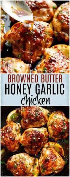 Browned Butter Honey Garlic Chicken is a deliciously simple recipe! Chicken cooked in browned butter infused with honey, garlic and a hint of lemon!