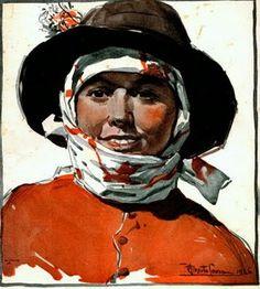 CEIFEIRA DE ESTREMOZ - aguarela de Mestre ALBERTO DE SOUZA (1880-1961), notável aguarelista e ilustrador, que calcorreou o país de lés a lés na primeira metade do século XX, funcionando como consciência plástica da Nação.