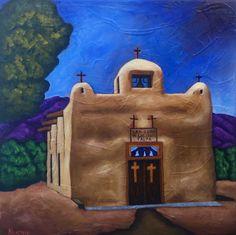 "Bobby Lee Krajnik | ""Talpa"" | oil on linen | 16 x 16 x 1.5"" | Chapel of Nuestra Señora de San Juan de los Lagos, Talpa NM Arte Popular, Bobby, Mount Rushmore, Fine Art, Tile Ideas, Nature, Adobe, Arizona, Buildings"