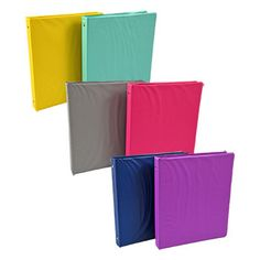 View Colorful Three-Ring Binders, 1 in. Classroom Supplies, Office And School Supplies, Dollar Tree Store, Dollar Stores, Binder Decoration, Plastic Folders, Three Ring Binders, Wooden Pencils, Binder Folder