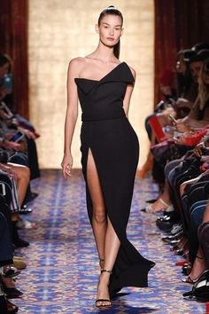 Stunning Black satin modern Asymetrical gown for Brandon Maxwell Fall 2017. This evening dress screams elegant and luxurious on an fabulous event.