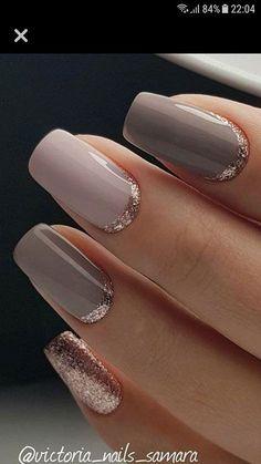 Pink and taupe and rose gold nails rose gold glitter nails, gold gel nails, Gold Glitter Nails, Rose Gold Nails, Pink Nails, Nails 24, Glitter Art, Gold Sparkle, Rose Gold Gel Polish, Purple Nail, Pink Polish