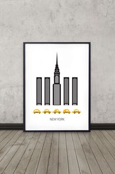 Affiche de New York, Art print, design scandinave, skyline, affiche moderne