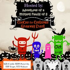 """Bloggers Wanted: """"CooCoo for Costumes"""" Halloween Giveaway event:   Welcome to the first of many Blogger opportunities for the Holiday Season! Hosted by: Adventures of a Military Family of 8  For October we will be d... ~  http://www.singlemommies.net/2014/09/bloggers-wanted-coocoo-costumes-halloween-giveaway-event/"""