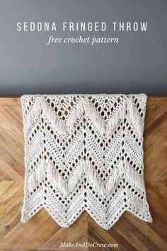 Monochromatic doesn\'t have to be boring! In this modern fringed crochet ripple blanket free pattern, two weights of Lion Brand Wool-Ease yarn combine to add instant style and texture to any room of your house. Modern Crochet Blanket, Crochet Ripple Afghan, Crochet Throw Pattern, Crochet For Beginners Blanket, Afghan Crochet Patterns, Crochet Blankets, Make And Do Crew, Make Do, Lion Brand Wool Ease