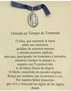 Oracion cuando hay tormenta God Prayer, Daily Prayer, Prayer Quotes, Faith Quotes, My Children Quotes, Quotes For Kids, Serenity Prayer In Spanish, Catholic Prayers In Spanish, Archangel Prayers