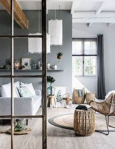 Living room - grey, white, natural elements