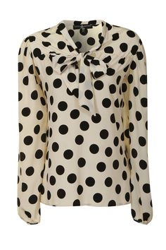bow blouse   Home › Clothing › Tops › Little Mistress Beige Polka Dot Bow Tie ...
