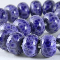 GMD Lampwork Beads SPOTTED BLUE LAVENDER 19 purple violet frit rounds SRA
