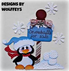 CRAFTECAFE-WINTER-PENGUIN-paper-piecing-premade-scrapbook-page-album-WOLFFEY5