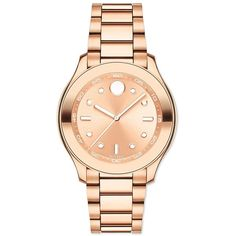 Movado Bold Rose Goldtone Stainless Steel Bracelet Sport Watch (663 CAD) ❤ liked on Polyvore featuring jewelry, watches, apparel & accessories, rose gold, polka dot watches, sport watches, stainless steel wrist watch, quartz movement watches and movado wrist watch
