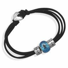 "7"" Triple Strand Black Suede Evil Eye Bead Fashion Bracelet . $9.75"