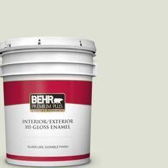 BEHR PREMIUM PLUS 5 gal. #PPU10-12 Whitened Sage Hi-Gloss Enamel Interior/Exterior Paint.