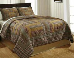 The Karston King Quilt Set by Olivia's Heartland features golden tans, black, red and cream in various plaid and stripe patterned strip blocks. Perfect for your country primitive home or cabin decor, King Quilt Sets, King Bedding Sets, Luxury Bedding Sets, Queen Quilt, Comforter Sets, Colchas Quilt, Plaid Quilt, Quilt Bedding, Man Quilt