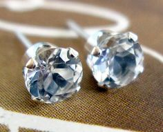 White Topaz Stud Earrings / Diamond Post Earrings by VerseJewelry, $25.00