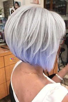 Gorgeous Silver Bob with Lavender Ends