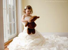 Toddler Girl in Mom's Wedding Dress. www.facebook.com/ejrosephoto: Morris County Newborn and Child photographer.