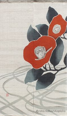 "Crimson Camellia ""Taisho Roman"" - Handmade Batik Style Noren Doorcurtain from Kyoto Japan Linen Cotton Mix by HonmaJapan on Etsy"