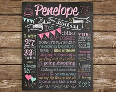 Personalized 2nd Birthday chalkboard poster or sign for child's birthday party and/or birthday photo shoot.