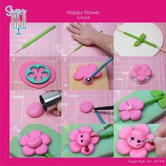 happy flower tutorial (Sugar High Inc)Cute flower tutorial part High, Inc. has shared her crazy talent with us.Courtesy of baking frenzyHow to makw me Fondant Flower Tutorial, Fondant Figures Tutorial, Cake Topper Tutorial, Fondant Flowers, Sugar Flowers, Fondant Icing, Fondant Toppers, Fondant Cakes, Polymer Clay Creations