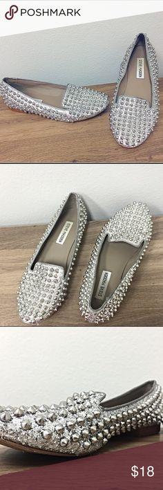 Steve Madden   Silver Studded Flats Steve Madden Studded Loafers • Metallic Silver • Worn Twice • Rubber Soles • SZ US 7.5 Steve Madden Shoes Flats & Loafers