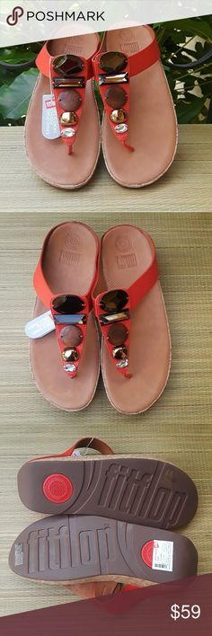 55b31d7ab90353 NWT Fitflop Jeweled Leather T Strap Thong Sandals Super comfortable! The  Flame Jewelery Sandals by