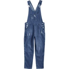 Ripped Pinafore Denim Jumpsuit ($34) ❤ liked on Polyvore featuring jumpsuits, denim jump suit, blue romper, blue jump suit, playsuit romper and blue denim jumpsuit