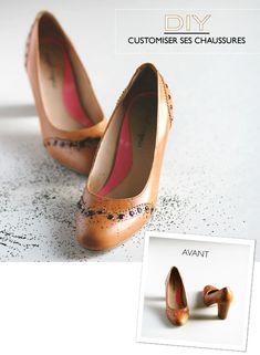 DIY Shoe Makeover. Comment sauver une paire de chaussures à pois roses avec du vernis à ongles et des paillettes.