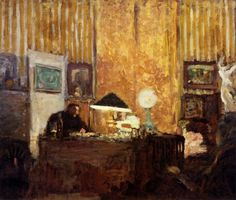Édouard Vuillard (French; Post-Impressionism, Intimism, 1868-1940): Thadée Natanson at His Desk, c. 1899. Oil on cardboard, 47 x 56.5 cm (18.5 x 22.24 inches). Private Collection.