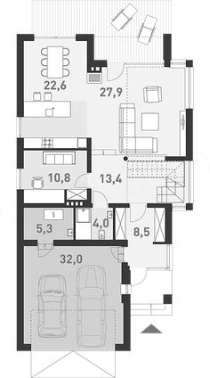 Projekt domu Z Charakterem 1 163,8 m2 - koszt budowy - EXTRADOM Dream House Plans, House Floor Plans, Plan Design, Bungalow, My House, Sweet Home, Villa, Minimalist, Layout
