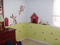 Dog Wall Decals Stickers Mural - Puppies, Dog House, Paw Prints