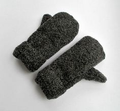 Recycled Grey Wool Mittens-Fuzzy and lined by allwrappedupandmore