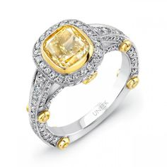 Natureal Collection Platinum and 18K Yellow Gold Cushion-Cut Fancy Yellow Diamond Engagement Ring LVS413