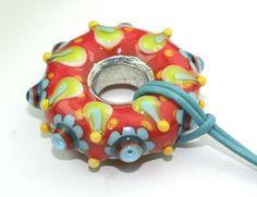 Lampwork-Beads - Bunter Glasdonut galvanisiert, Glasperle, Lampwork - ein Designerstück von anlukaa bei DaWanda