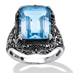 PalmBeach 8.00 TCW Emerald-Cut Blue Genuine Topaz Sterling Silver Antique-Finish Filigree Ring | Overstock.com Shopping - The Best Deals on Gemstone Rings