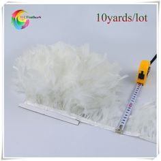 10yards high quality white chandelle turkey feather fringes for costumes