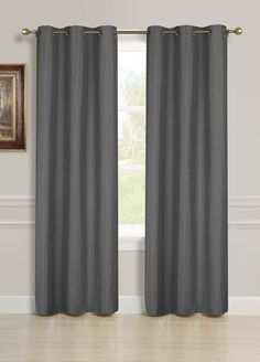 Gorgeous Home (-55) 2 PANELS SOLID CHARCOAL GREY 84' STANDARD SIZE THERMAL FOAM LINED BLACKOUT HEAVY THICK WINDOW CURTAIN DRAPES SILVER GROMMETS * More info could be found at the image url. (This is an affiliate link) #WindowTreatments